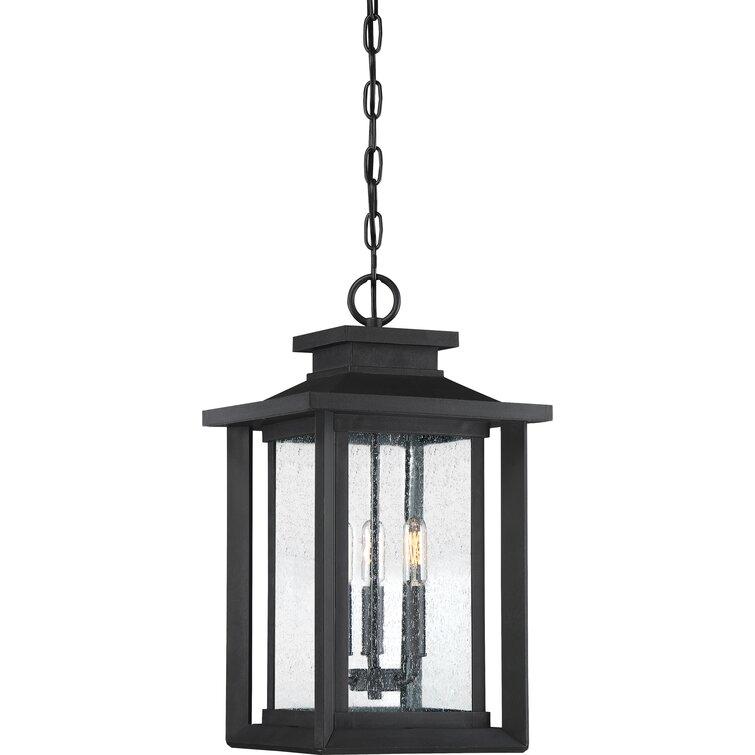 "Higuchi Earth Black 3 -Bulb 19.25"" H Outdoor Hanging Lantern"