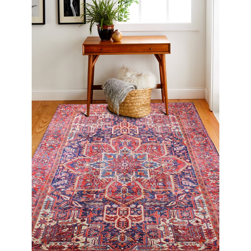 Savala Red Dark Blue Area Rug Reviews