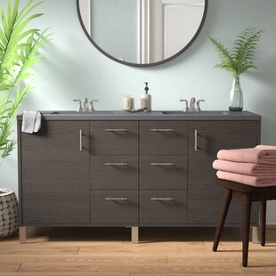 Cordie Modern 60 Double Silver Oak Bathroom Vanity Set by Orren Ellis