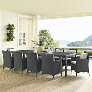 Tripp Outdoor Patio 11 Piece Dining Set w..