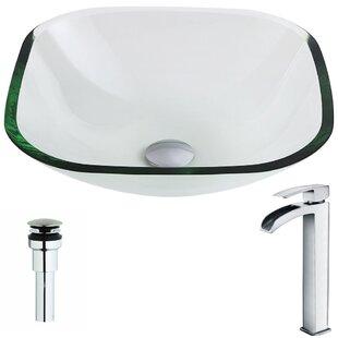 Cadenza Glass Circular Vessel Bathroom Sink with Faucet ANZZI