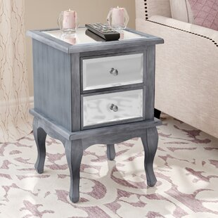 Romig 2 Drawer Mirrored End Table