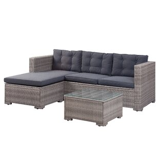 Henrie 3 Piece Rattan Sectional Set with Cushions