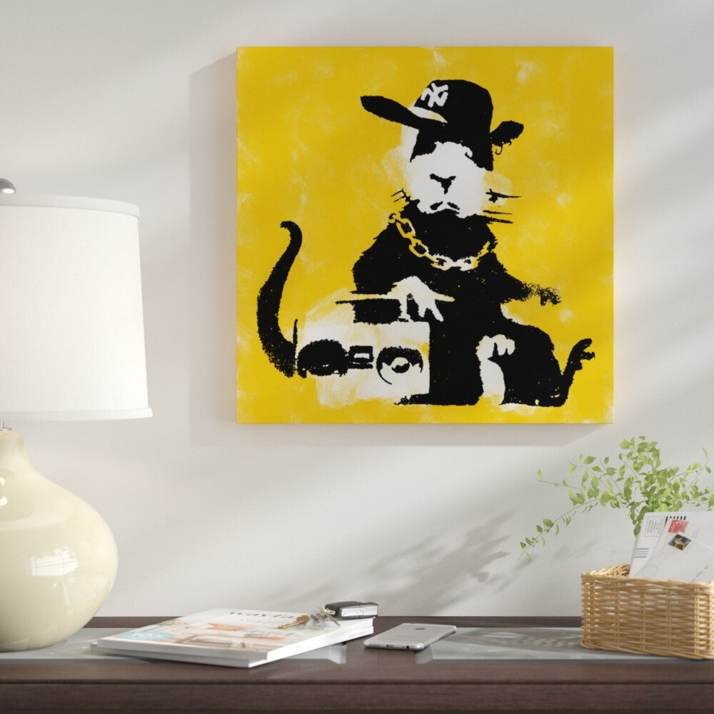 East Urban Home Gangster Rat Painting Print on Wrapped Canvas   Wayfair