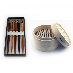 Bamboo Steamer Set 11pc (Steamer & Chopsticks)
