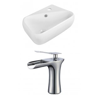 Ceramic 18 Wall Mount Bathroom Sink with Faucet and Overflow ByRoyal Purple Bath Kitchen