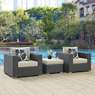 Brayden Studio Tripp 3 Piece Sunbrella Conversation Set with Cushions