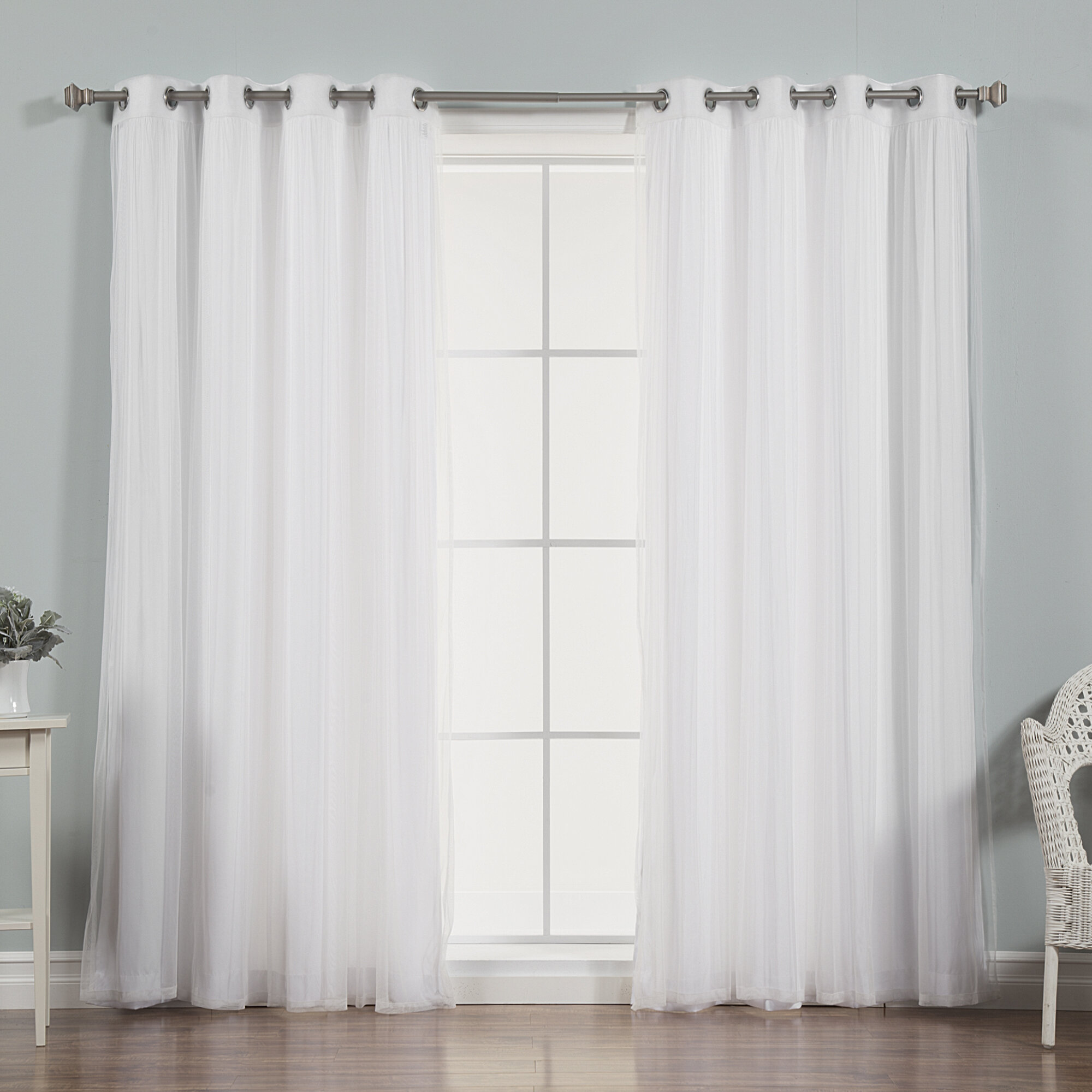 Best Home Fashion Inc Mix And Match Tulle Semi Sheer Grommet Curtain Panels Reviews Wayfair