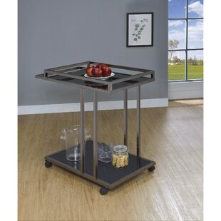 Bethea 2 Tier Metal and Glass Bar Carts
