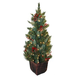 4 green spruce artificial christmas tree with 100 yellow pot lights - Christmas Tree In A Pot