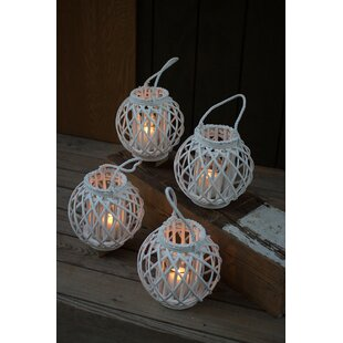 Bungalow Rose Round Willow Lantern (Set of 4)