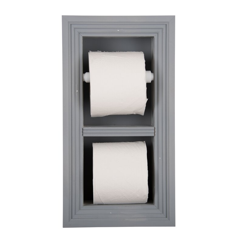 WG Wood Products Solid Wood in Wall Bathroom Double Recessed Toilet ...