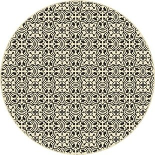 Best Hawtree Quad European Circle Design Black/Beige Indoor/Outdoor Area Rug By Alcott Hill
