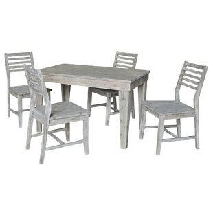 Gall Modern Rustic Solid Wood 30 x 48 5 Piece Dining Set with Ladderback Chairs Gracie Oaks