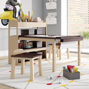 Emilio Kids 3 Piece Arts And Crafts Table Stool Set