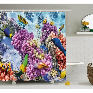 Coral and Fish Decor Shower Curtain ByEast Urban Home