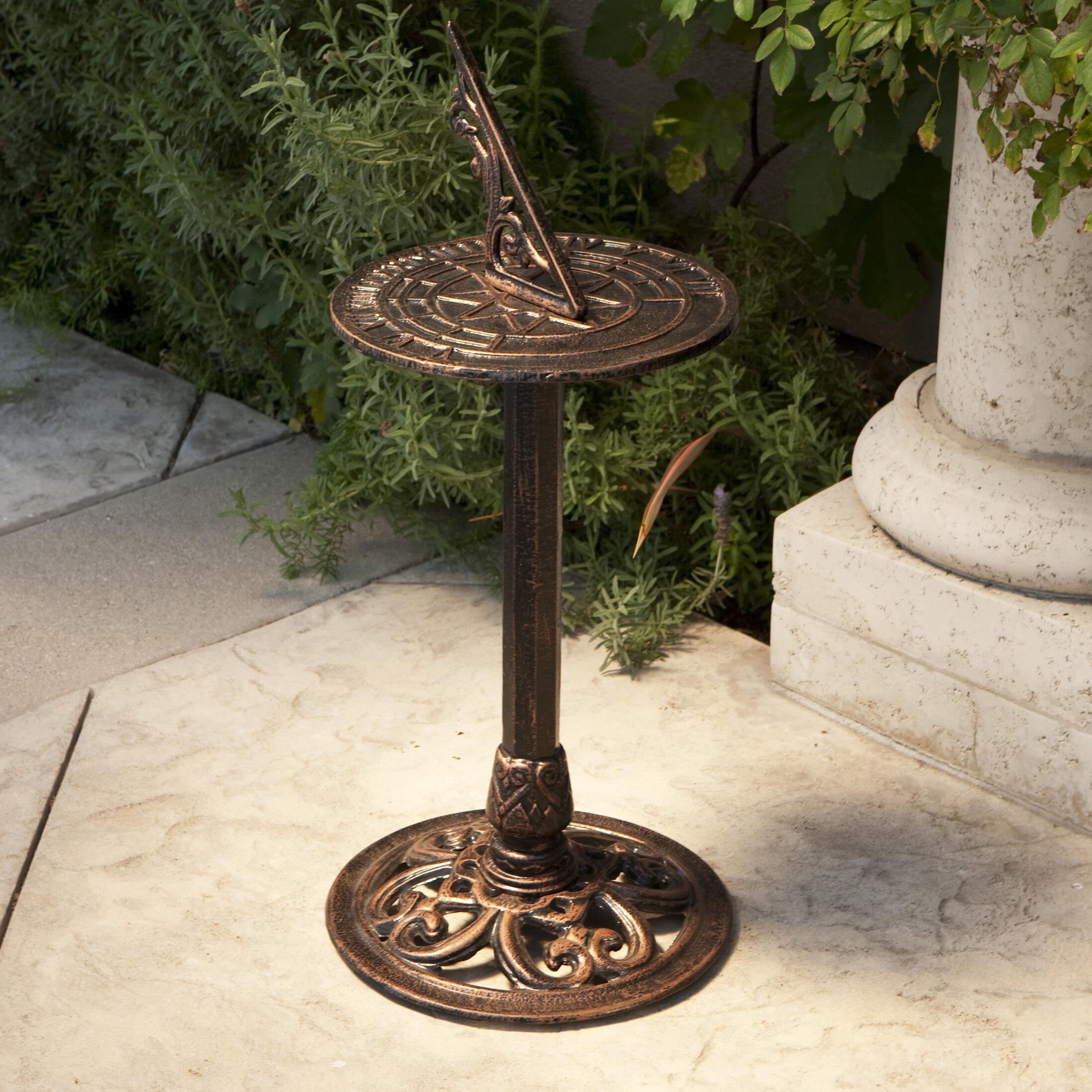 pillar description finish cast itm inc antique pedestal with rome iron sundial painted