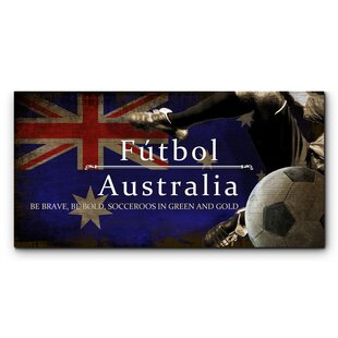 Australia Futbol With Soccer Ball Kick Graphic Art Print On Wood
