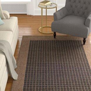 Ariadne Checkered Field Black/Cocoa Area Rug By Charlton Home