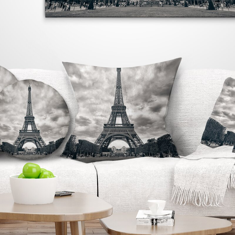 East Urban Home Skyline Photography Paris Eiffel Tower Under Dramatic Sky Throw Pillow Wayfair