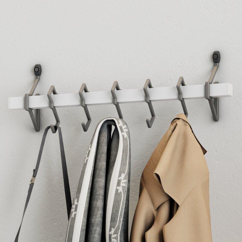 Jerez Metal Wall Mount Coat Rack With Hanging Hook Reviews Birch Unique Metal Wall Coat Rack With Shelf