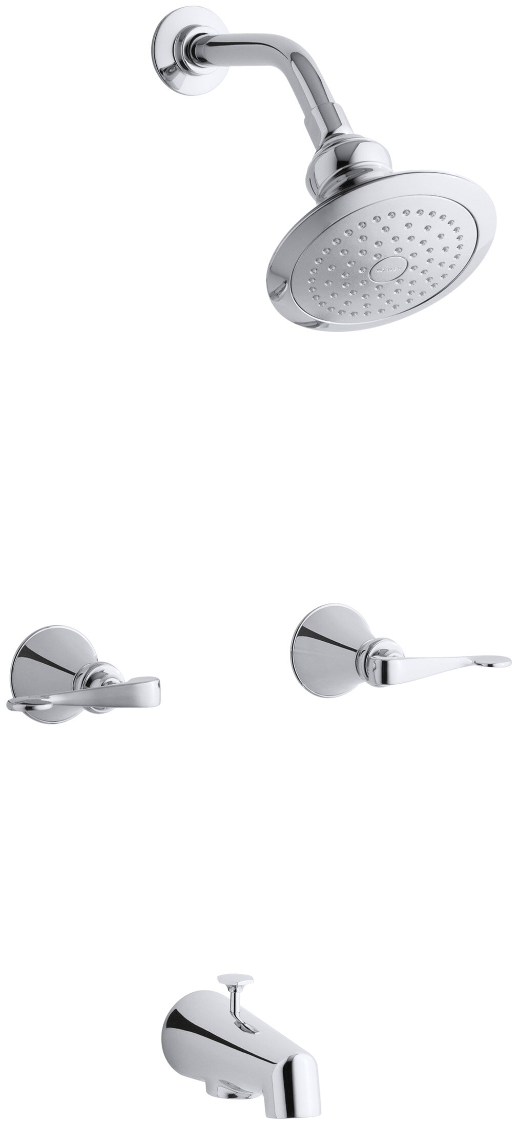 K 16213 4 Cp Kohler Revival Bath And Shower Faucet With Scroll Lever Handles And Standard Showerarm And Flange Wayfair