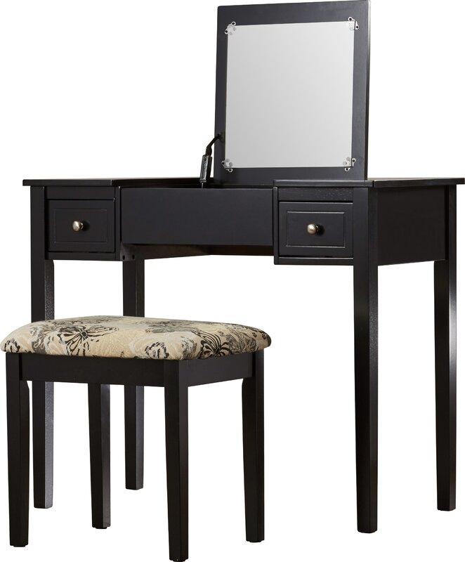 Kinkaider Vanity Set with Mirror. Andover Mills Kinkaider Vanity Set with Mirror   Reviews   Wayfair