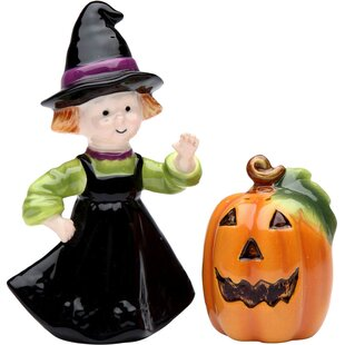 Town Pumpkin and Witch 2 Piece Salt and Pepper Set by Cosmos Gifts