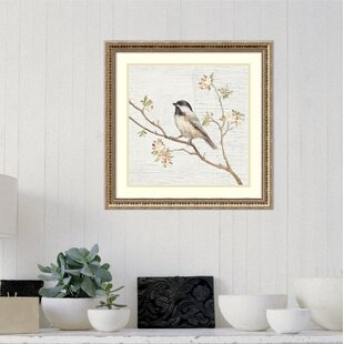 Capped Chickadee Vintage Framed Graphic Art Print On Wood