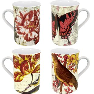 Assorted Botanical 4 Piece Coffee Mug Set
