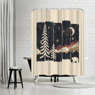 NDTank Starry Night in the Mountains Single Shower Curtain