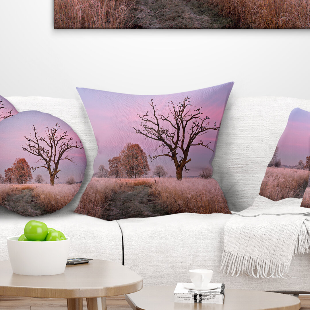 East Urban Home Landscape Printed Fairy Autumn Sunrise With Lonely Tree Pillow Wayfair