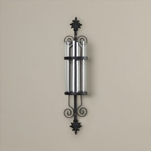 Glass/Metal Wall Sconce Candle Holder