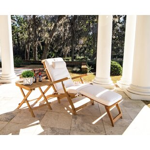 Proctor Reclining Teak Chaise Lounge with Cushion and Table