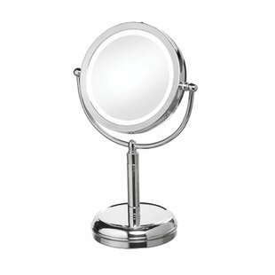 Reviews LED Lighted Magnifier Table Mirror By Latitude Run
