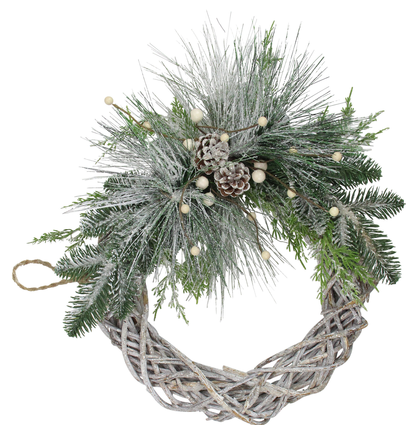 Northlight 15 Frosted Pine Cone And Foliage Artificial Christmas Twig Wreath Unlit Wayfair