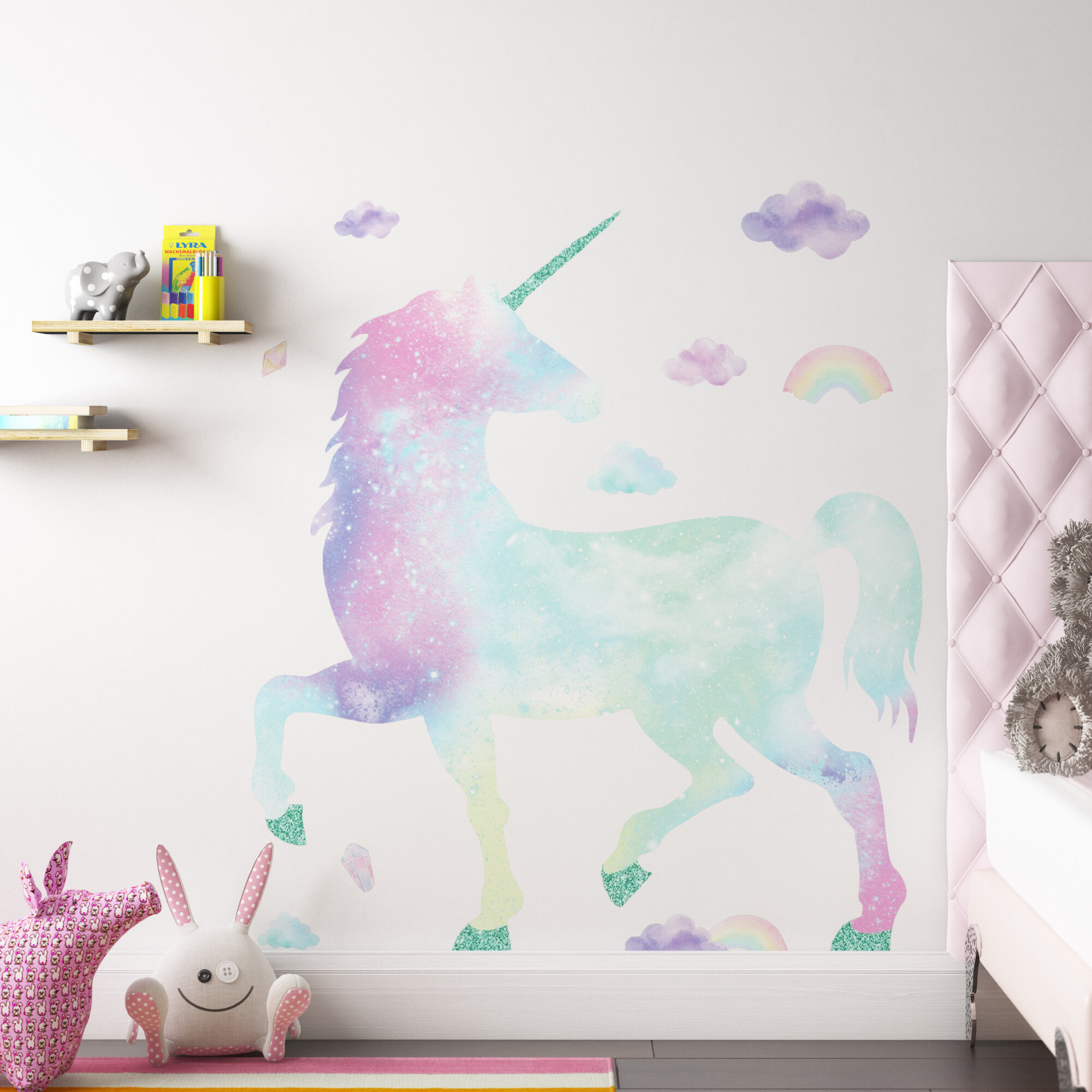 amettes galaxy unicorn giant 17 piece wall decal set