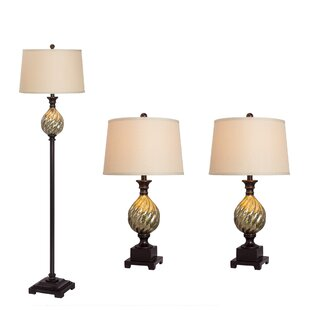 Darby Home Co Divernon 3 Piece Table and Floor Lamp Set
