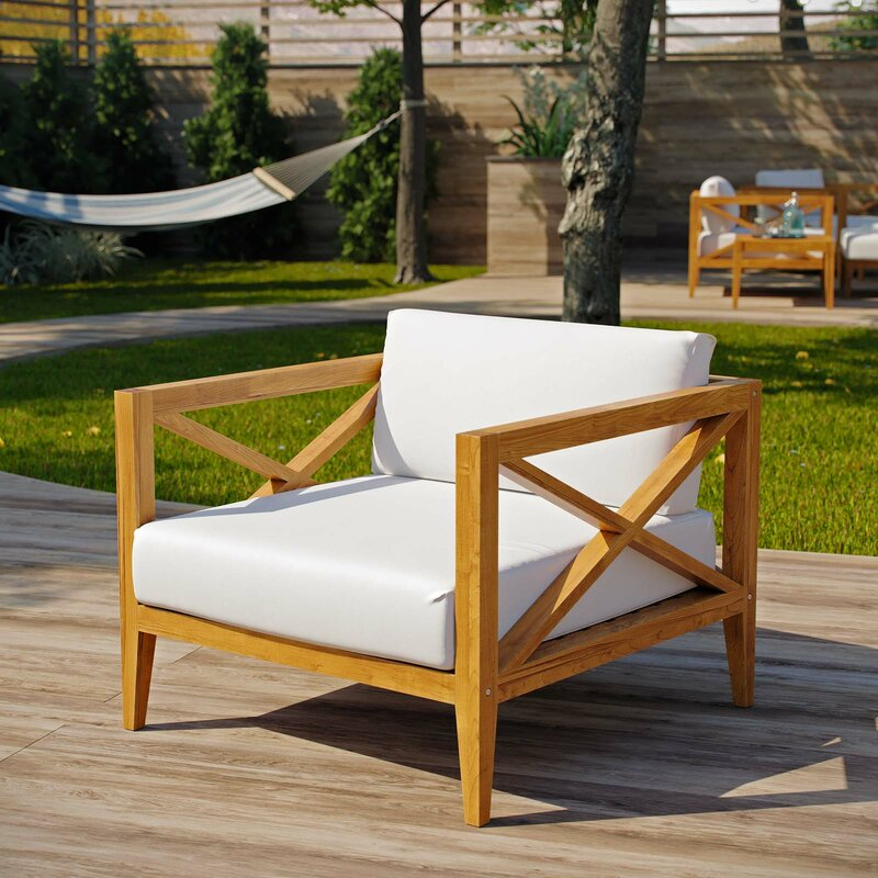 Breakwater Bay Dowell Teak Patio Chair With Cushions Wayfair
