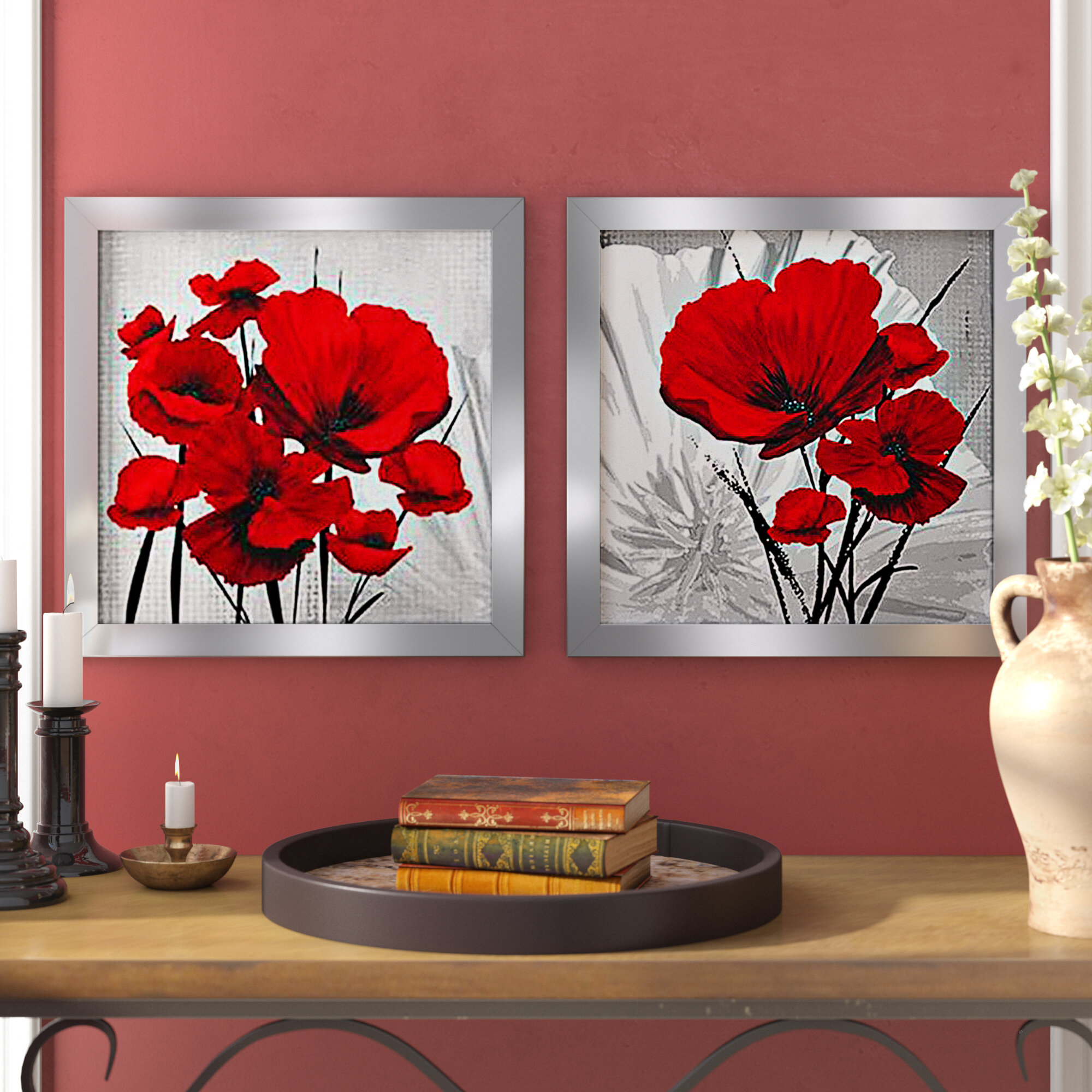 ORANGE RED FLORAL PAINTING PICTURE 4 PANEL SPLIT WALL ART PICTURE MULTI  40/""