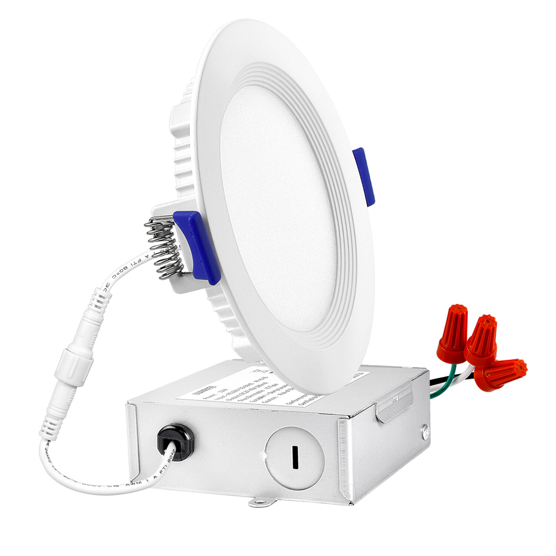 Luxrite 4 81 Ultra Slim Selectable Cct Remodel Ic Led Canless Recessed Lighting Kit Wayfair