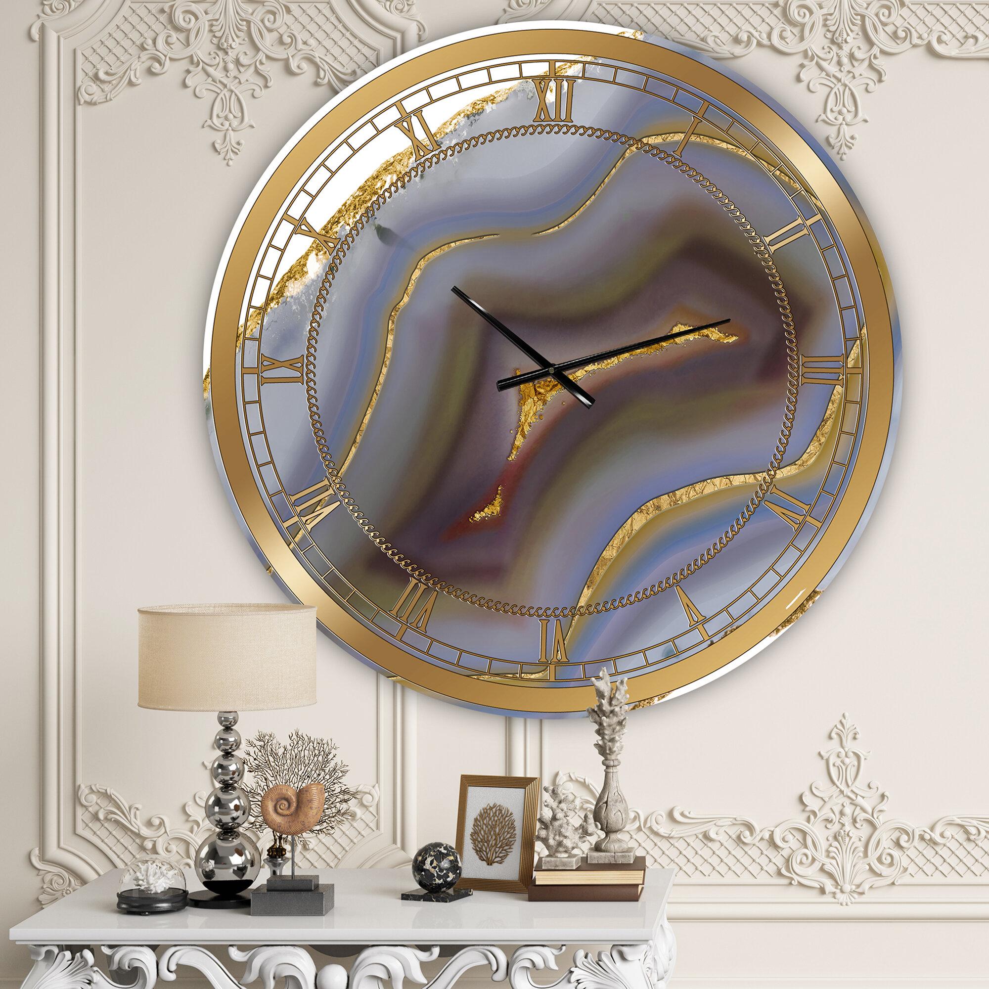 East Urban Home Oversized Core Agate Fashion Wall Clock Reviews Wayfair