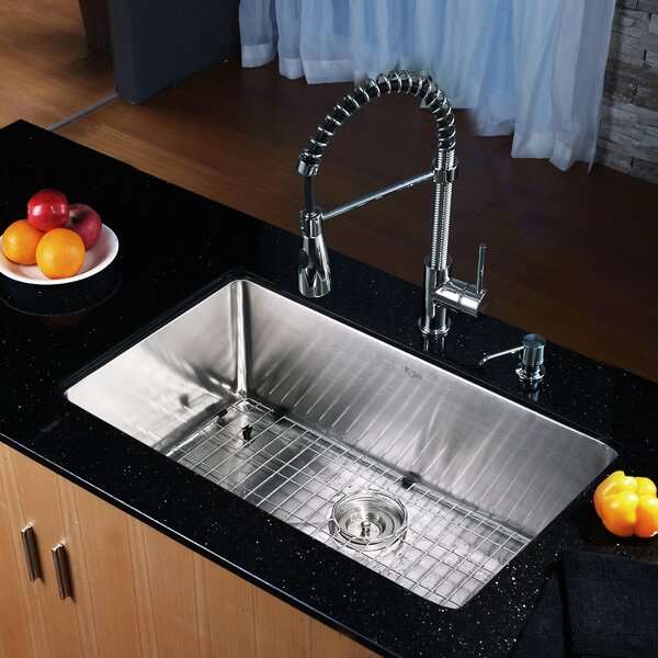 "Kraus 30"" X 18"" Undermount Kitchen Sink With Faucet And"