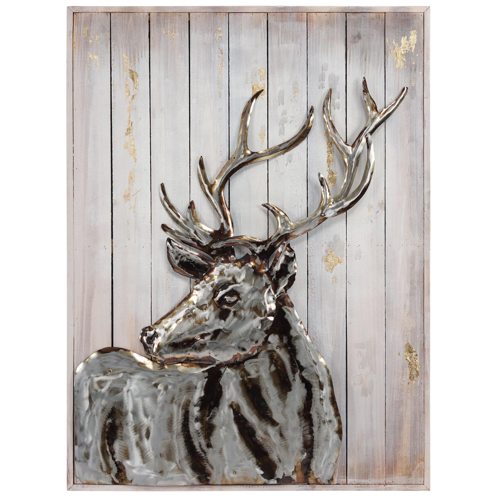 Millwood Pines Deer 2 Unframed Print On Metal Wayfair