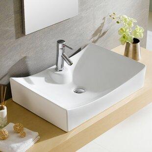 Shop For Modern Ceramic Rectangular Vessel Bathroom Sink ByFine Fixtures