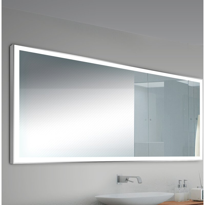 Orren Ellis Alcron Modern Contemporary Lighted Bathroom Mirror