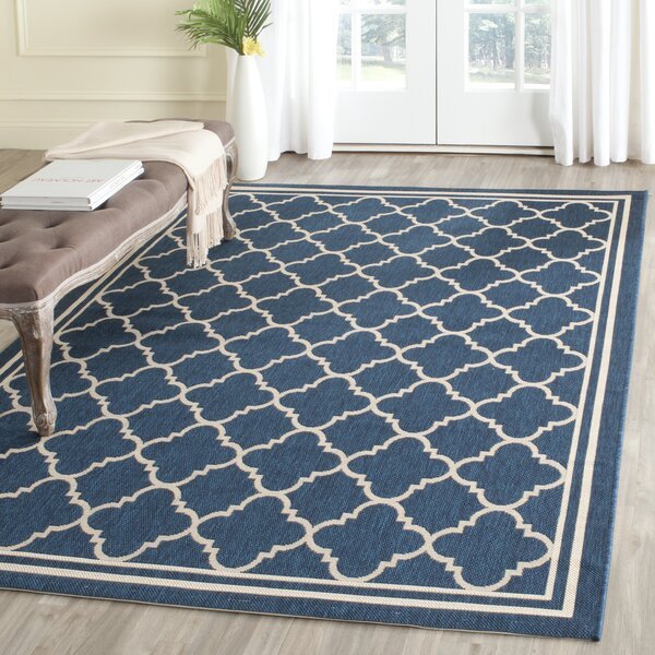 Three Posts Adelia Geometric Navy Beige Indoor Outdoor Area Rug Reviews Wayfair