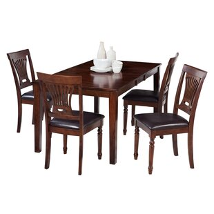 Downieville-Lawson-Dumont 5 Piece Solid Wood Dining Set with Curved Back Chair