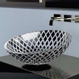 Glass Contemporary Circular Vessel Bathroom Sink