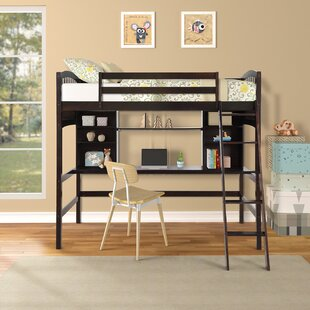 Aerne Twin Loft Bed with Shelves and Desk by Harriet Bee